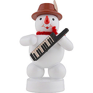 Kleine Figuren & Miniaturen Zenker Schneemänner Schneemann Musikant mit Keyboard - 8 cm