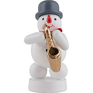 Kleine Figuren & Miniaturen Zenker Schneemänner Schneemann Musikant mit Saxophon - 8 cm
