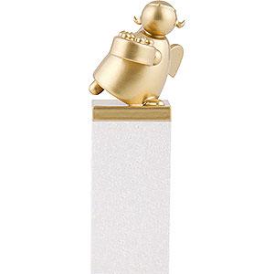 Weihnachtsengel Günter Reichel Schutzengel Gold Edition Schutzengel Gold mit Torte - 8 cm