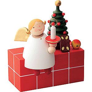 Weihnachtsengel Günter Reichel Schutzengel Schutzengel auf Paket sitzend - 3,5 cm
