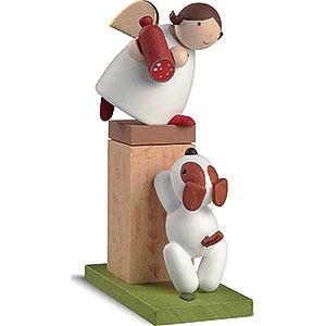 Weihnachtsengel Günter Reichel Schutzengel Schutzengel auf Sockel mit Hund - 8 cm