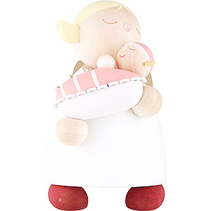 Weihnachtsengel Günter Reichel Schutzengel groß Schutzengel mit Baby Mädchen - 16 cm