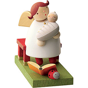 Geschenkideen Geburt und Taufe Schutzengel mit Baby sitzend - 3,5 cm