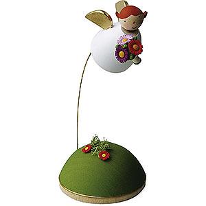 Weihnachtsengel Günter Reichel Schutzengel Schutzengel mit Blume schwebend am Ständer - 3,5 cm