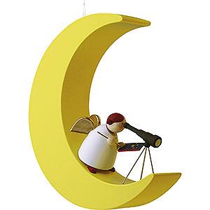 Weihnachtsengel Günter Reichel Schutzengel Schutzengel mit Fernrohr im Mond - 3,5 cm