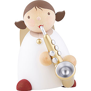 Weihnachtsengel Günter Reichel Schutzengel groß Schutzengel mit Saxophon, Gold - 16 cm