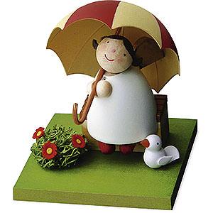 Weihnachtsengel Günter Reichel Schutzengel Schutzengel mit Schirm auf Bank - 3,5 cm