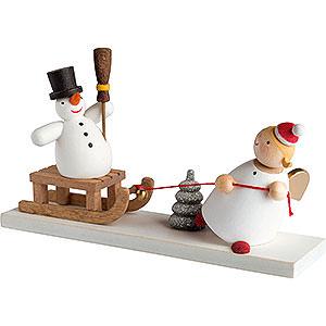 Weihnachtsengel Günter Reichel Schutzengel Schutzengel mit Schneemannschlitten - 3,5 cm / 2inch