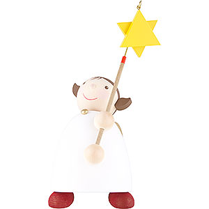 Weihnachtsengel Günter Reichel Schutzengel groß Schutzengel mit Stern am Stab - 26 cm