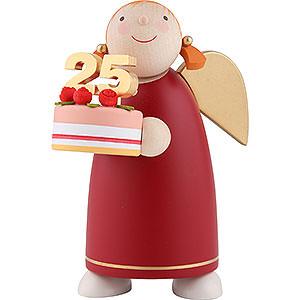 Weihnachtsengel Günter Reichel Schutzengel mittel Schutzengel mit Torte, rot - 8 cm