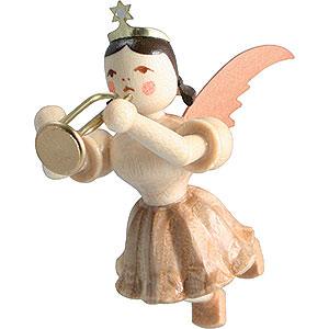 Weihnachtsengel Kurzrockschwebeengel (Blank) Schwebeengel Trompete, natur - 6,6 cm