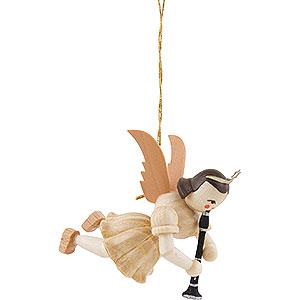 Baumschmuck Engel Baumbehang Schwebeengel Schwebeengel mit Klarinette, natur - 6,6 cm