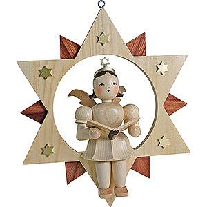 Weihnachtsengel Kurzrockengel im Stern (Blank) Schwebeengel natur Sänger im Stern - 28 cm