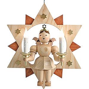 Weihnachtsengel Kurzrockengel im Stern (Blank) Schwebeengel natur im Stern mit elektrischer Beleuchtung - 28 cm