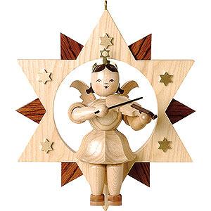 Weihnachtsengel Kurzrockengel im Stern (Blank) Schwebeengel natur mit Violine im Stern - 28 cm