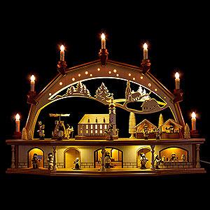 Schwibbögen Mit Innenbeleuchtung Schwibbogen Altstadt mit Arcaden und beweglichen Figuren - 76x55 cm