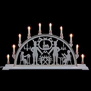 Schwibbögen Laubsägearbeiten Schwibbogen Bergmann mit Kirche - 78 cmx42 cm