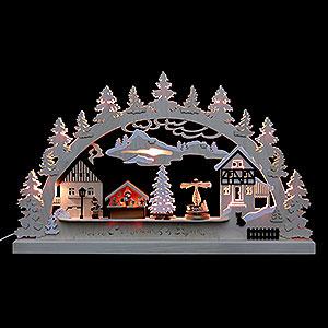 Schwibbögen Laubsägearbeiten Schwibbogen Dorfweihnacht - 62x37x5,5 cm