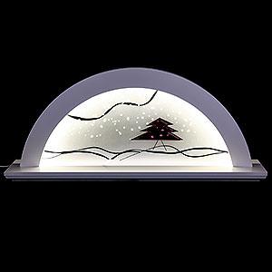 Schwibbögen Alle Schwibbögen Schwibbogen Erle weiß mit Glas und roter Tanne - 79x14x35 cm