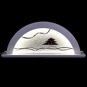 Schwibbögen Alle Schwibbögen Schwibbogen Erle weiss mit Glas und roter Tanne - 79x14x35 cm