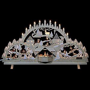 Schwibbögen Laubsägearbeiten Schwibbogen Erzgebirgsbogen mit Figuren, Übergröße - 100x56x16 cm