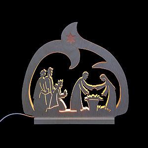 Schwibbögen Laubsägearbeiten Schwibbogen Leuchter Krippe - 30x28,5x4,5 cm