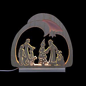 Schwibbögen Laubsägearbeiten Schwibbogen Leuchter Weihnachtsmann - 30x28,5x4,5 cm