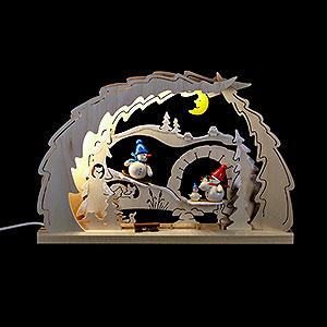 Schwibbögen Laubsägearbeiten Schwibbogen Schneemann-Familie - 41x27x4,5 cm