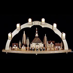 Schwibbögen Mit Innenbeleuchtung Schwibbogen Seiffener Kirche mit Dorf - 80x41 cm