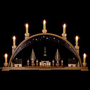 Schwibbögen Mit Innenbeleuchtung Schwibbogen Seiffener Kirche mit Himmel - 62x38 cm