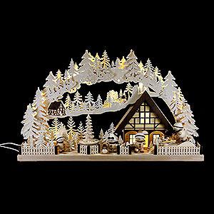 Schwibbögen Laubsägearbeiten Schwibbogen Snowmolli-Land mit Pyramide und Raureif - 72x43 cm