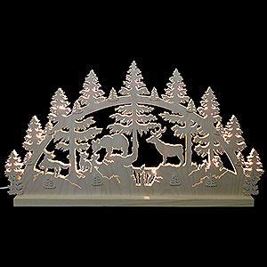 Schwibbögen Laubsägearbeiten Schwibbogen Tiere im Wald - 72x40x5,5 cm