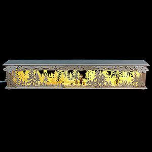 Schwibbögen Schwibbogen-Unterbauten Schwibbogen-Unterbau/Raumleuchte Wald mit Hochsitz und Figuren - 80x15x12 cm