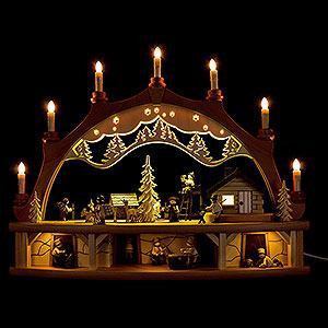 Schwibbögen Mit Innenbeleuchtung Schwibbogen Waldhaus mit beweglichen Figuren - 68x50 cm