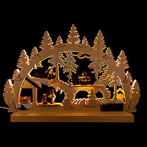 Schwibbögen Laubsägearbeiten Schwibbogen Waldleute Holzstapel mit 3 Figuren - 42x30x4,5 cm