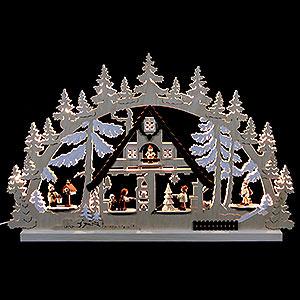 Schwibbögen Laubsägearbeiten Schwibbogen Weihnachtshaus - 74x47x5,5 cm