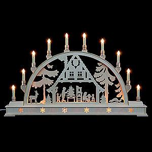 Schwibbögen Laubsägearbeiten Schwibbogen Weihnachtshaus mit Sockel - 78 cmx45 cm