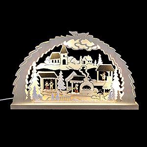 Schwibbögen Laubsägearbeiten Schwibbogen Weihnachtsmarkt - 62x37x4,5 cm