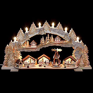 Schwibbögen Laubsägearbeiten Schwibbogen Weihnachtsmarkt - 72x43x13 cm