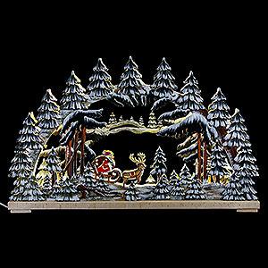 Schwibbögen Laubsägearbeiten Schwibbogen Weihnachtsnacht handbemalt winterlich - 62x38 cm
