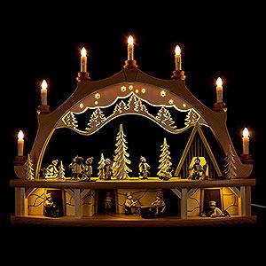 Schwibbögen Mit Innenbeleuchtung Schwibbogen Winterkinder mit beweglichen Figuren - 68x50 cm