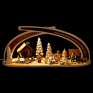 Schwibbögen Alle Schwibbögen Schwibbogen aus Massivholz am Bach - 59x30 cm