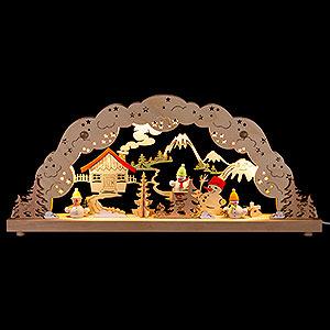 Schwibbögen Laubsägearbeiten Schwibbogen mit bunten Schneemännern - 50,5x22,5 cm