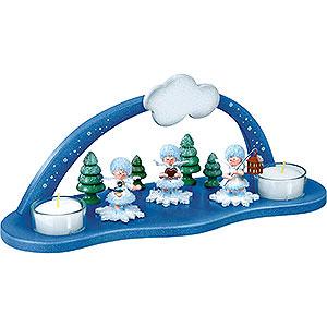 Kleine Figuren & Miniaturen Kuhnert Schneeflöckchen Schwibbogen mit zwei Teelichtern - 29x11,5x11,1 cm