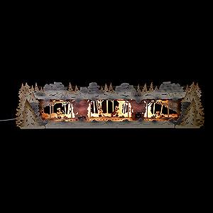 Schwibbögen Schwibbogen-Unterbauten Schwibbogenerhöhung Bergbau mit Bergleuten exclusiv Thielfiguren, beleuchtet - 79x20x16 cm