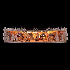 Schwibbögen Schwibbogen-Unterbauten Schwibbogenerhöhung Rentierschlitten verschneit - 75x20x15 cm