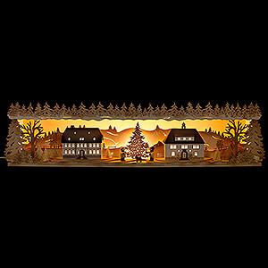 Schwibbögen Schwibbogen-Unterbauten Schwibbogenerhöhung Seiffener Dorf - 75x20 cm