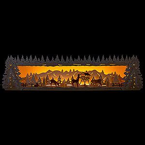 Schwibbögen Schwibbogen-Unterbauten Schwibbogenerhöhung Verschneiter Wald mit geschnitzten Rehen - 77x20 cm