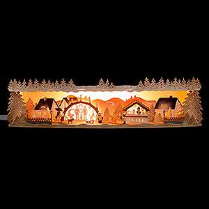 Schwibbögen Schwibbogen-Unterbauten Schwibbogenerhöhung Weihnachtsidylle mit Schwibbogen 75x20x15 cm