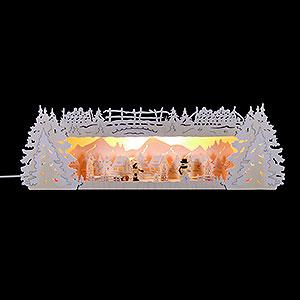 Schwibbögen Schwibbogen-Unterbauten Schwibbogenerhöhung für Lichterspitze Winterspitze verschneit - 54x17x15 cm